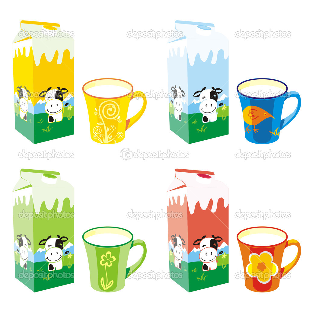 Vector illustration of isolated milk carton boxes and mugs — Stock Vector #3128800