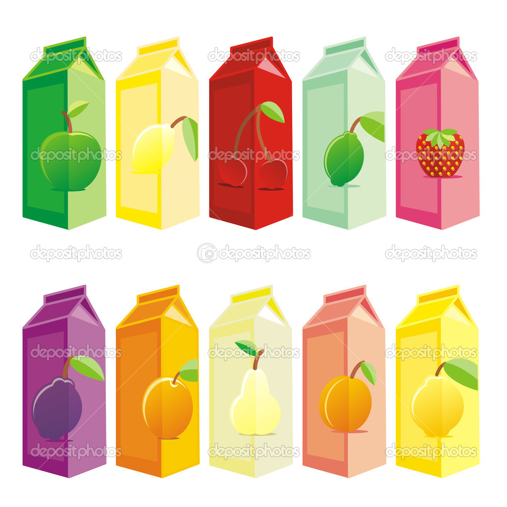 Vector illustration of isolated juice carton boxes — Stock Vector #3129688