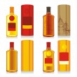 Isolated whiskey bottles and boxes - Stok Vektr