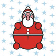 Santa Claus with blue stars - Stock Vector