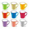 Nine isolated colored mugs — Stock Vector