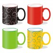 Isolated colored mugs — Stock Vector