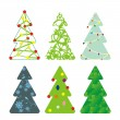 Six decorative Christmas trees — Stock Vector