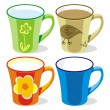 Isolated colored mugs — Stockvectorbeeld