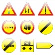 Isolated european road signs - Stock Vector
