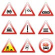 Isolated european road signs - Stock vektor