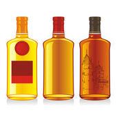 Isolated whiskey bottles — Stock Vector