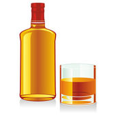 Isolated whiskey bottle and glass — Stock Vector