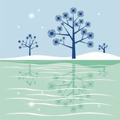 Blue trees reflecting in frozen lake — Stock Vector