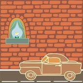 Carro perto da parede de tijolo — Vetorial Stock