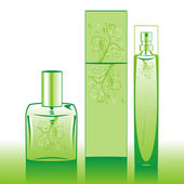 Isolated perfume bottles in green — Vettoriale Stock