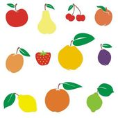 Vector illustration of different fruits — Stock Vector