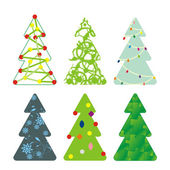Sex dekorativa julgranar — Stockvektor