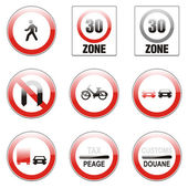 Isolated european road signs — Stock Vector