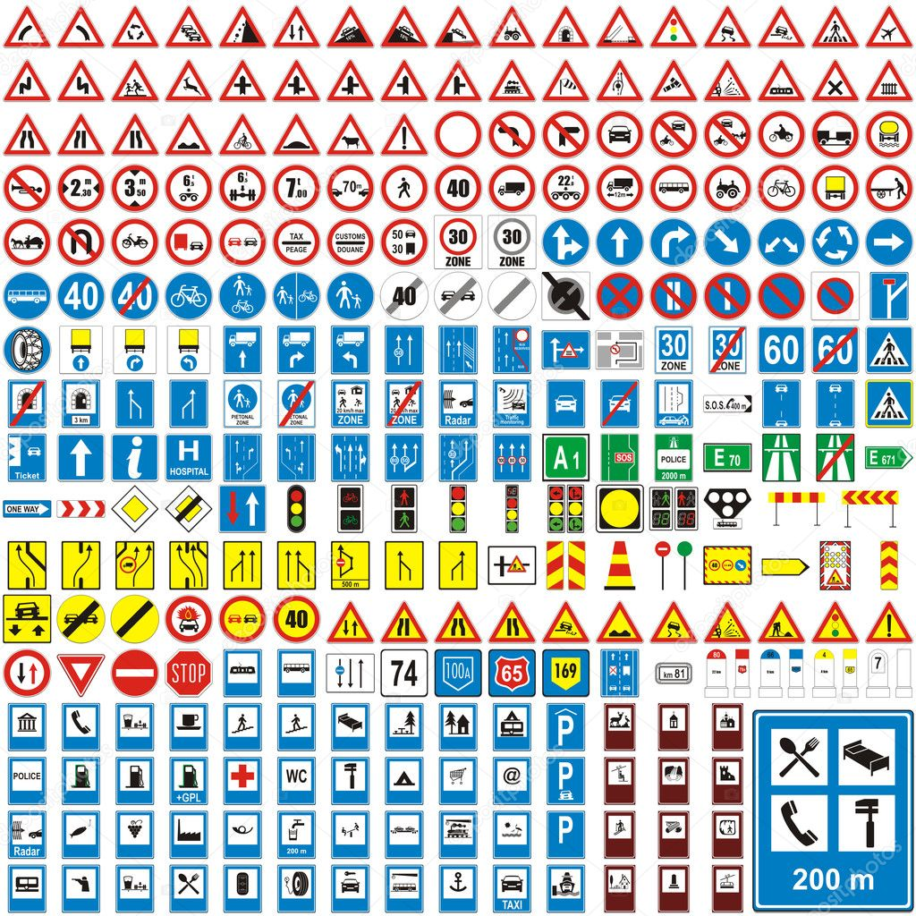 Fully editable vector illustration of isolated european road signs — Imagen vectorial #3131053