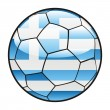 Flag of Greece on soccer ball — Grafika wektorowa