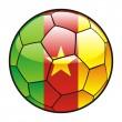 Flag of Cameroon  on soccer ball — Stock Vector