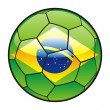 Flag of Brazil on soccer ball — Stock Vector