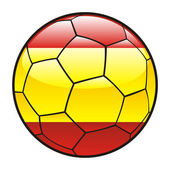 Flag of Spain on soccer ball — 图库矢量图片