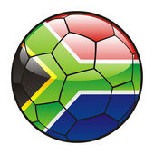 Flag of South Africa on soccer ball — Stock Vector