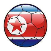 Vlajka severní koreje na fotbalový míč — Stock vektor