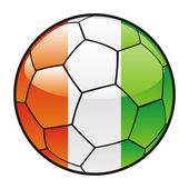 Flag of Ivory Coast on soccer ball — Stock Vector