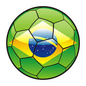 Flag of Brazil on soccer ball — 图库矢量图片