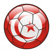Tunisia flag on soccer ball — Stock Vector