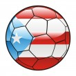 Porto Rico flag on soccer ball — Imagen vectorial