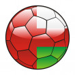 Oman flag on soccer ball — Stock Vector