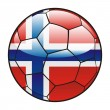 Norway flag on soccer ball — Stock Vector