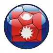 Nepal flag on soccer ball — Stock Vector