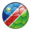 Namibia flag on soccer ball — 图库矢量图片