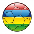 Mauritius flag on soccer ball - Stock Vector