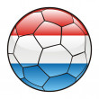 Luxembourg flag on soccer ball — Stock Vector