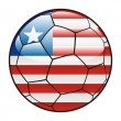 Liberia flag on soccer ball — Stock Vector