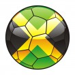 Jamaica flag on soccer ball — Stock Vector