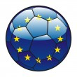 European Union flag on soccer ball — Stock Vector
