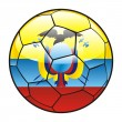 Ecuador flag on soccer ball — Stock Vector