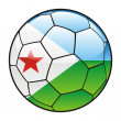 Djibouti flag on soccer ball — Stock Vector