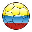 Colombia flag on soccer ball — Stock Vector