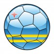 Aruba flag on soccer ball — Stock Vector
