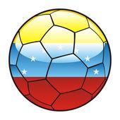Vlajka Venezuely na fotbalový míč — Stock vektor