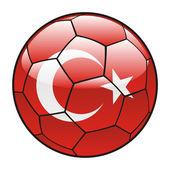 Bandiera turchia sul pallone da calcio — Vettoriale Stock