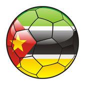 Mozambique flag on soccer ball — Stock Vector