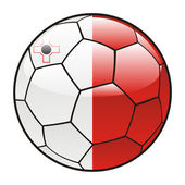 Malta flag on soccer ball — Stock Vector