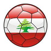 Lebanon flag on soccer ball — ストックベクタ