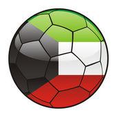 Kuwait flag on soccer ball — Stok Vektör