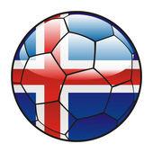 Bandeira da Islândia na bola de futebol — Vetor de Stock