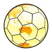 Isolated soccer ball with world map layout — Stock Vector